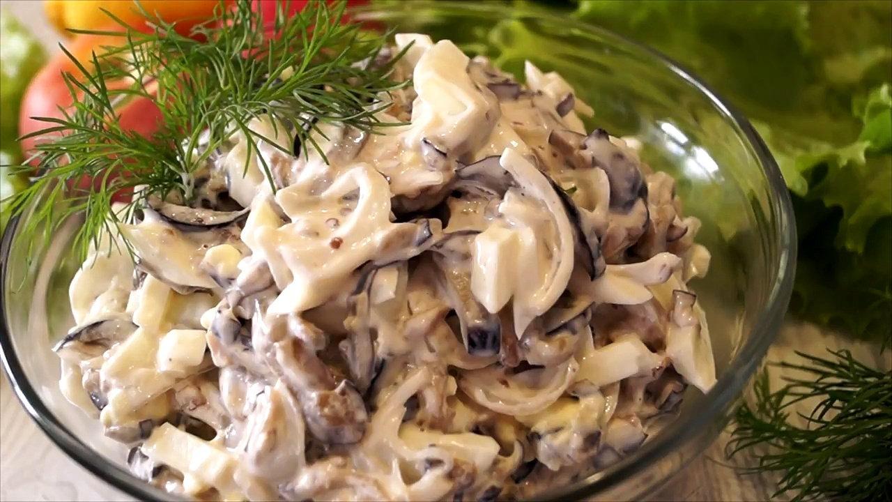 Салат с жареными шампиньонами простой рецепт